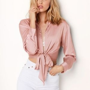 Victoria's Secret satin wrap front tie blouse